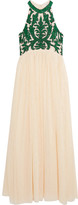 GANNI - Colby Sequined Tulle Maxi Dress - Cream
