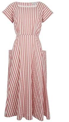 Emily And Fin Pink Stripe Aubrey Midi Dress - 8