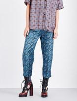 Burberry Castle-print silk-satin trousers