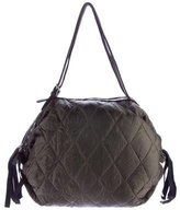Marni Quilted Leather-Trimmed Hobo