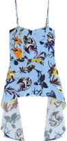 Tibi Draped Floral-print Silk Crepe De Chine Top - Sky blue