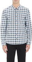 ATM Anthony Thomas Melillo MEN'S PLAID OXFORD CLOTH SHIRT-LIGHT BLUE SIZE S