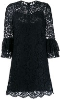 Valentino flared floral lace mini dress