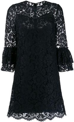 Valentino flared floral lace mini dress