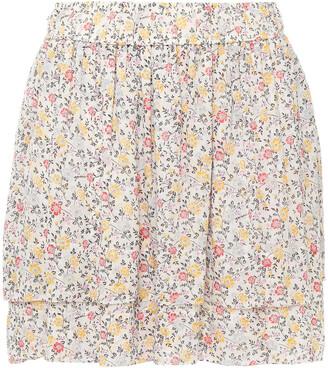 Ganni Layered Floral-print Georgette Mini Skirt
