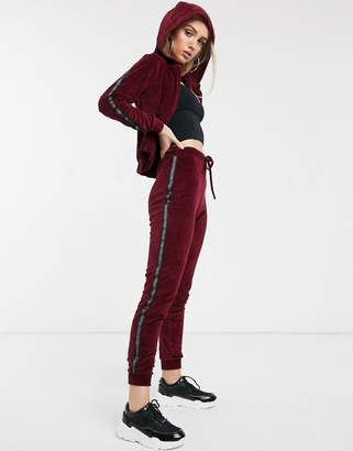 Parisian lounge suit skinny joggers with taping detail-Red