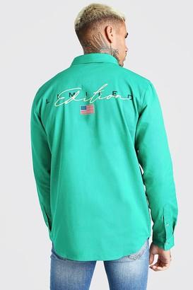 boohoo Mens Green MAN Limited Edition Back Print Overshirt, Green