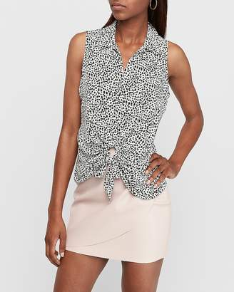 Express Spotted Sleeveless Tie Front Shirt