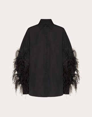 Valentino Micro-faille Shirt With Feathers Women Black Polyester 46% 36