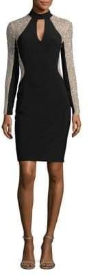 Xscape Evenings Embellished Mesh-Trimmed Sheath Dress