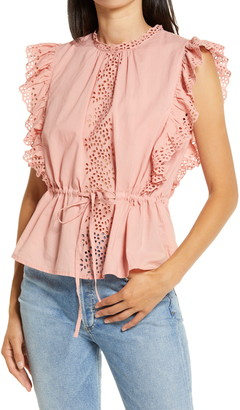 AWARE BY VERO MODA Leah Ruffle Eyelet Trim Cinched Top