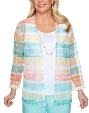 Alfred Dunner Spring Lake Striped Layered-Look Top