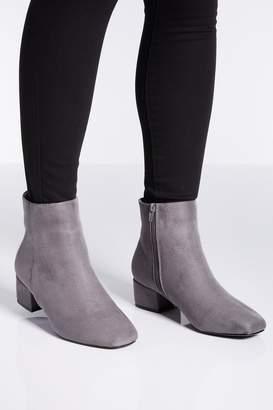 Quiz Wide Fit Grey Block Heel Ankle Boots