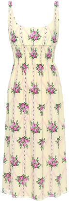 Emilia Wickstead Giovanna Shirred Floral-print Silk Crepe De Chine Midi Dress