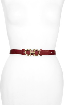 Salvatore Ferragamo Double Gancio Reversible Buckle Leather Belt