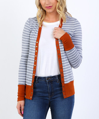Coco & Main Women's Cardigans Heather - Rust & Heather Gray Stripe Snap Button Cardigan - Women