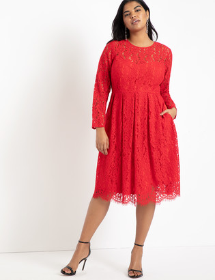 ELOQUII Lace Fit and Flare Dress