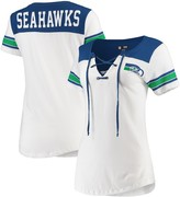 New Era Women's White Seattle Seahawks Athletic Historic Lace-Up T-Shirt