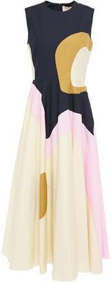 Roksanda Color-block Cotton-blend Poplin Midi Dress