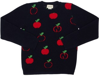 Gucci Apple Wool Jacquard Knit Sweater