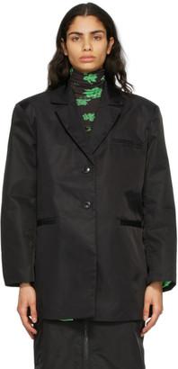 Ganni Black Nylon Oversized Blazer