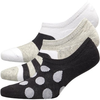 Fruit Cake Fruitcake Womens Three Pack Printed Invisible Trainer Liners Black/Grey/White