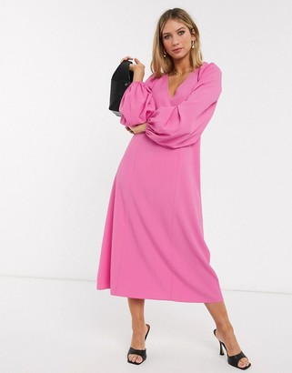 ASOS DESIGN trapeze midi dress with lace up back in pink