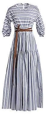 Brunello Cucinelli Women's Cotton Striped Three-Quarter Sleeve Leather-Trim Dress