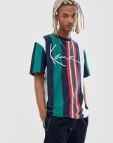 Karl Kani Signature Stripe tee Mens T-Shirt Green Navy Yellow