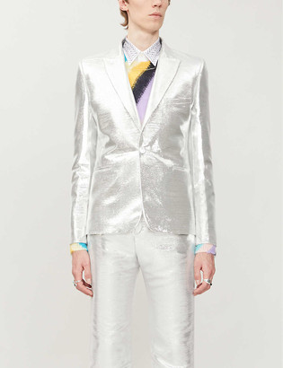 Paco Rabanne Metallic single-breasted woven blazer