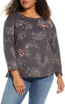 Daniel Rainn Floral Print & Metallic Embroidered Sweater