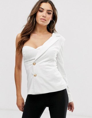 Club L London one shoulder tailored blazer top in white