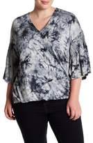 Bobeau Bell Sleeve Tie-Dye Top (Plus Size)