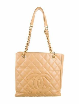 Chanel Caviar Petit Shopping Tote Tan
