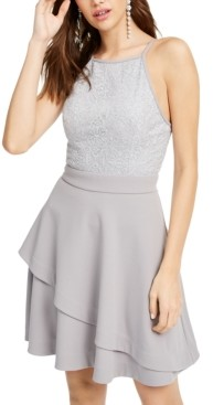 Speechless Juniors' Sparkle-Embellished Halter Dress, Created for Macy's