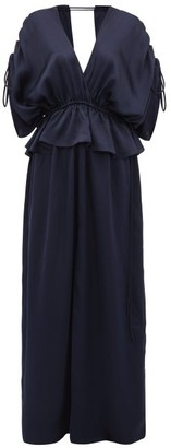 Loup Charmant Athena Open-back Hammered Silk-satin Maxi Dress - Dark Blue