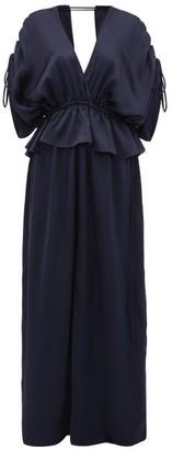 Loup Charmant Athena Open-back Hammered Silk-satin Maxi Dress - Womens - Dark Blue