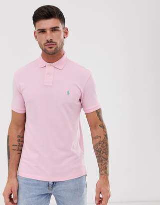 Polo Ralph Lauren washed pique polo slim fit player logo in light pink