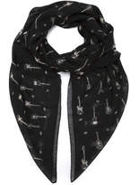 Saint Laurent Guitar Print Scarf - Black