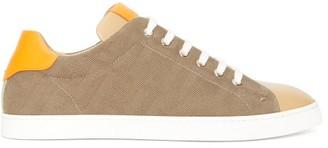 Fendi Ff-jacquard Canvas And Leather Trainers - Khaki Multi