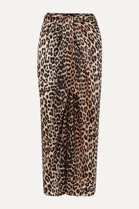 Ganni Tie-front Leopard-print Silk-blend Satin Midi Skirt - Leopard print