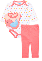 Bon Bebe Coral Heart Bodysuit Set