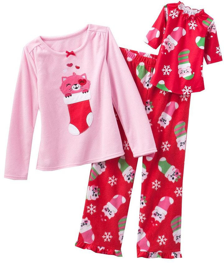 Jumping beans ® kitty microfleece pajama & doll gown set - girls 4-7
