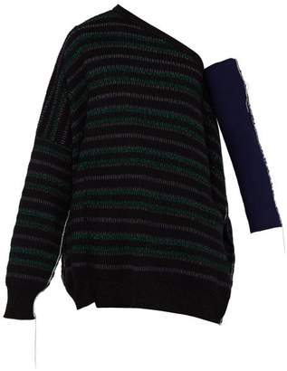 Raf Simons One Shoulder Striped Knitted Sweater - Mens - Black