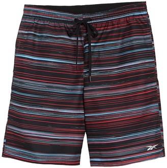 Reebok Horizon Volley Stripe Print Swim Trunks