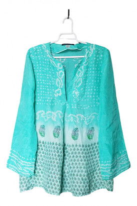 Antik Batik Turquoise Silk Tops
