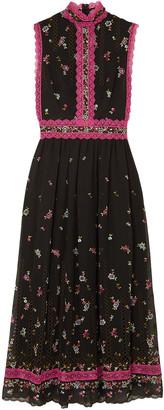 Costarellos Lillias Lace-trimmed Embroidered Silk-blend Chiffon Midi Dress