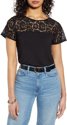 Halogen Floral Lace Yoke Top