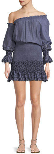 Alexis Royce One-Shoulder Embroidered Mini Dress