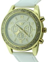 Golddigga Women's Quartz Watch with Beige Dial Analogue Display and White PU Strap DIG57/B